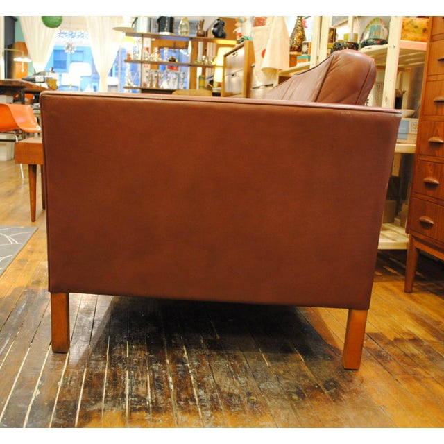 Danish Modern Leather Love Seat - Image 2 of 6