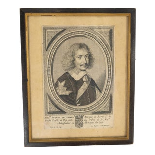 """Early 19th Century """"Hugues de Lionne by Peter de Jode"""" French Copper Plate Engraving Portrait Print, Framed For Sale"""