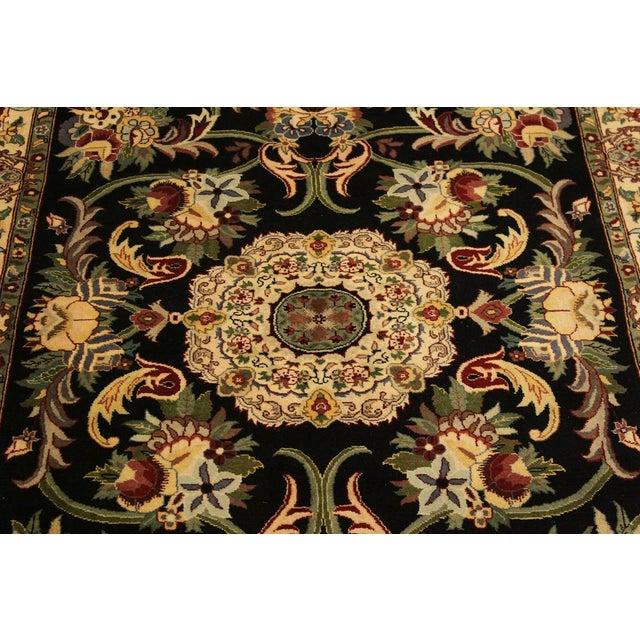 2000s Anarkali Pak-Persian Virgil Black/Ivory Wool Rug - 4'2 X 6'2 For Sale - Image 5 of 8