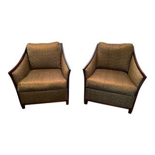 Jim Thompson Thai Silk Fabric Kreiss Gatsby Wing Chairs - Pair For Sale