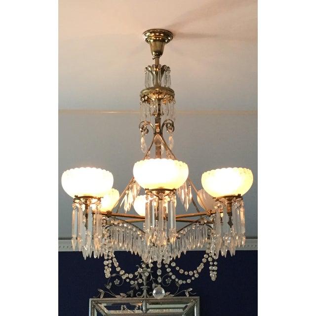 Antique Brass & Crystal Chandelier For Sale - Image 10 of 10