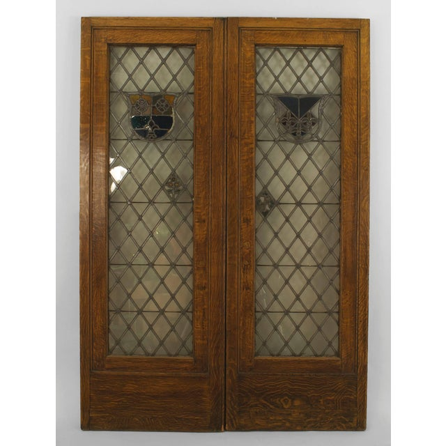 Large Pair of 19th C. American Leaded Glass Golden Oak Doors For Sale - Image 9 of 9