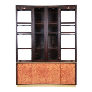 Edward Wormley for Dunbar Walnut and Burl Superstructure Wall Unit or Bar Cabinet, Newly Restored For Sale