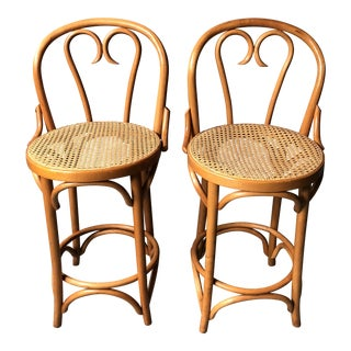 1980s Danish Modern Thonet Counter Height Stools With Cane Seats - a Pair For Sale