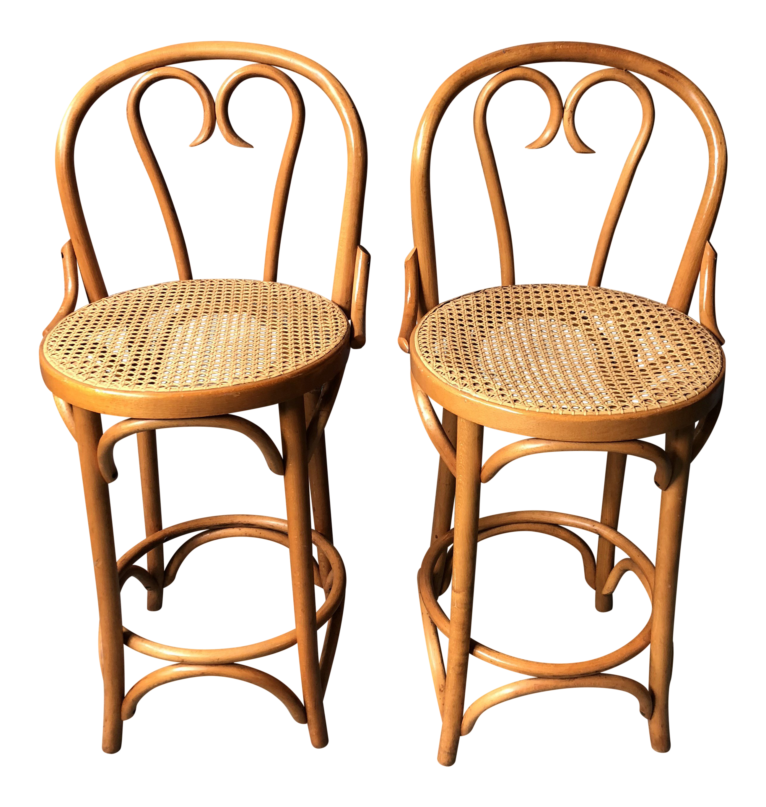 1980s Danish Modern Thonet Counter Height Stools With Cane Seats   A Pair