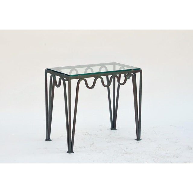 """Contemporary """"Méandre"""" Verdigris Iron and Glass Side Table For Sale - Image 4 of 7"""