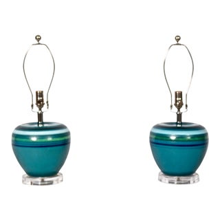 """Bitossi for Rosenthal Netter Blue Ceramic """"Fascie Colorate"""" Table Lamps - a Pair For Sale"""
