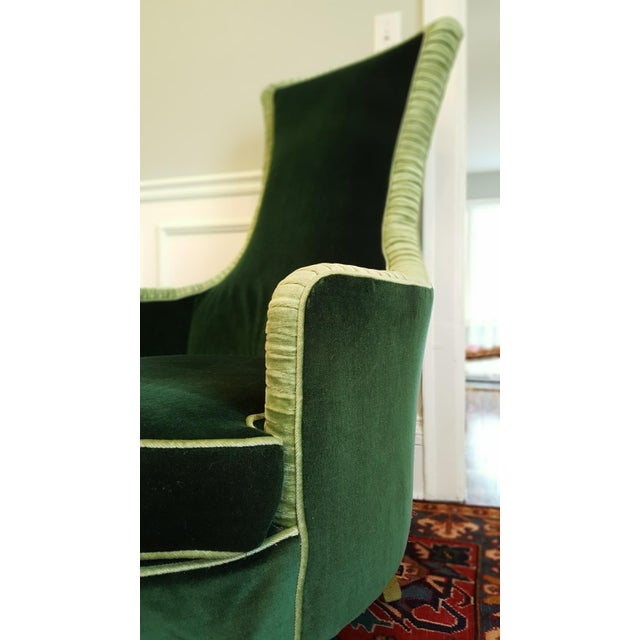Emerald Green Velvet Club Chairs - A Pair For Sale In Detroit - Image 6 of 8
