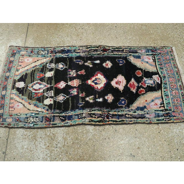 "Blue Vintage Persian Gabbeh Rug – Size: 1' 11"" X 4' 2"" For Sale - Image 8 of 9"