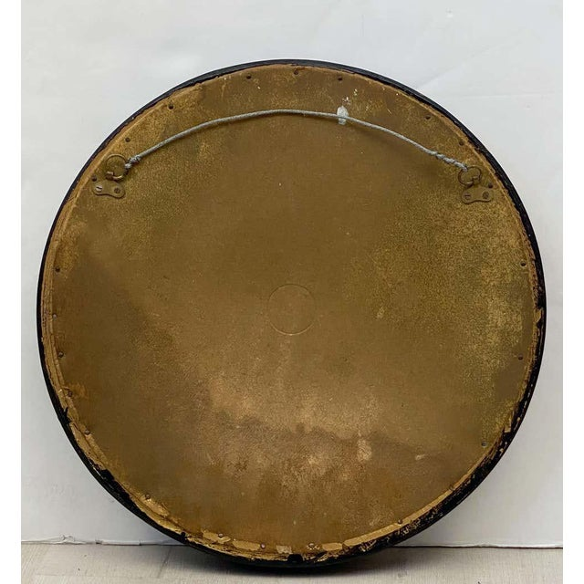 English Round Ebony Black and Gold Framed Convex Mirror For Sale - Image 12 of 13