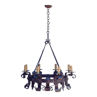 French Wrought Iron Chandelier For Sale