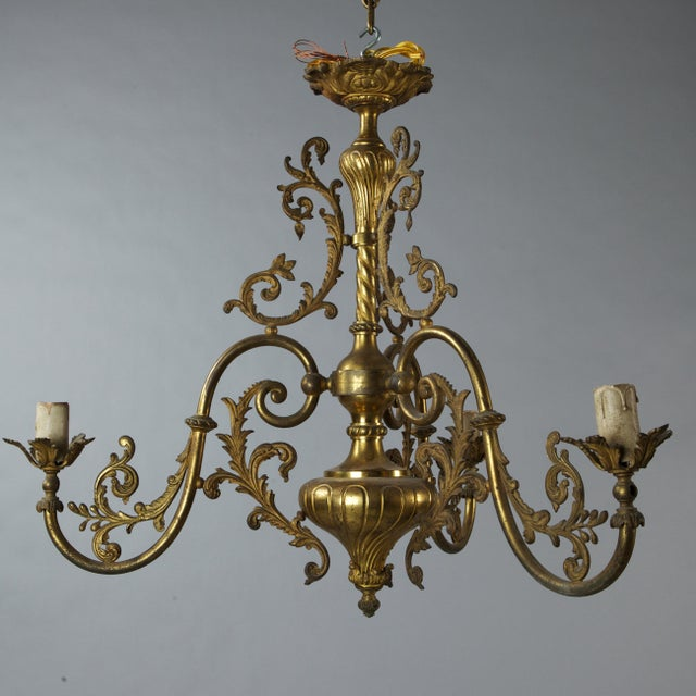 Gold French Three Light Solid Cast Brass Chandelier For Sale - Image 8 of 8