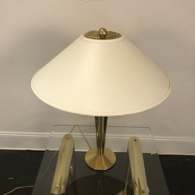 Solid Brass Modern Table Lamp by Stiffel. Excellent condition with original Stiffel Shade and Solid Brass heavy ball...