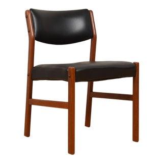 Single Danish Modern Teak + Black Upholstered Chair For Sale