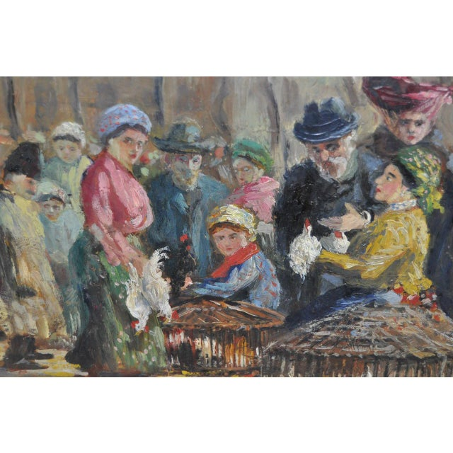 Impressionist European Market Scene Oil Painting - Image 6 of 9