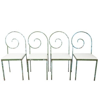 Set of Four Scroll Back Garden Chairs For Sale