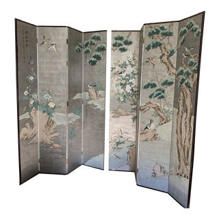 Chinoiserie Eight Panel Folding Screen, Silver Leaf With Birds, Peonies and Cherry Blossoms For Sale