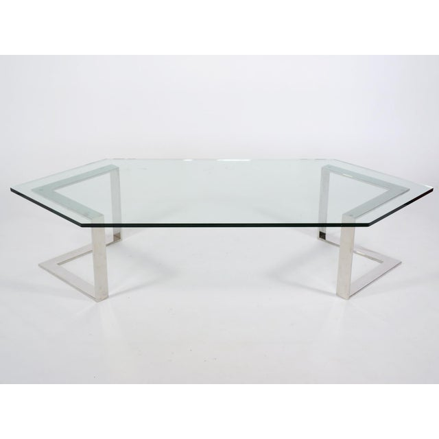 Chrome And Glass Coffee Table By Directional - Image 2 of 10
