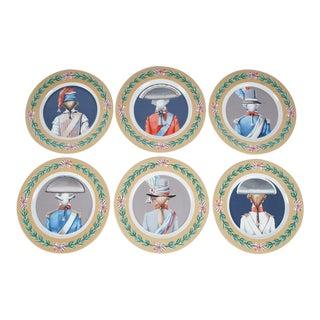 Gien Porcelain Bicentenial French Revolution Soldier Plates - Set of 6 For Sale
