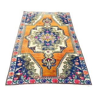 1960s Vintage Turkish Oushak Handwoven Rug - 4′2″ × 7′1″ For Sale