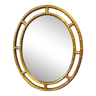 Friedman Brothers Faux Bamboo Gold Beveled Glass Mirror For Sale