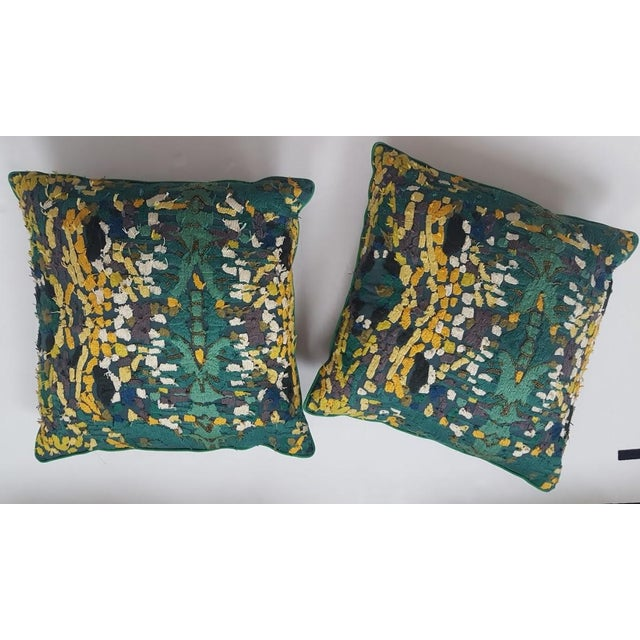 Velvet Beaded Throw Pillows - A Pair - Image 2 of 7