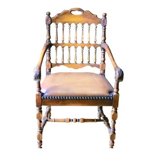 Hand Carved Mahogany Leather Seat With Arms Side Chair For Sale