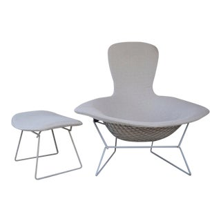 1960s Mid-Century Modern Harry Bertoia for Knoll Bird Chair and Ottoman -2 Pieces For Sale