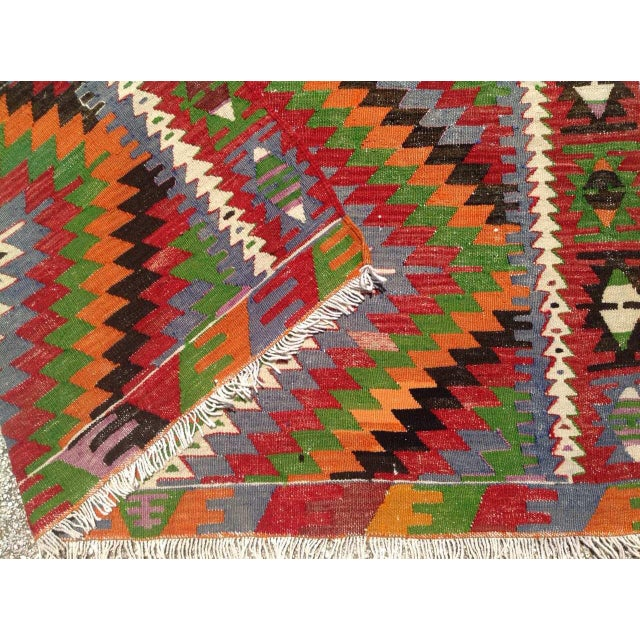 Textile Vintage Turkish Kilim Rug - 5′7″ × 8′7″ For Sale - Image 7 of 9