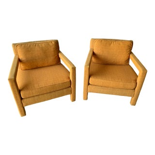 1970s Vintage Bernhardt Flair Milo Baughman Style Parsons Chairs - a Pair For Sale