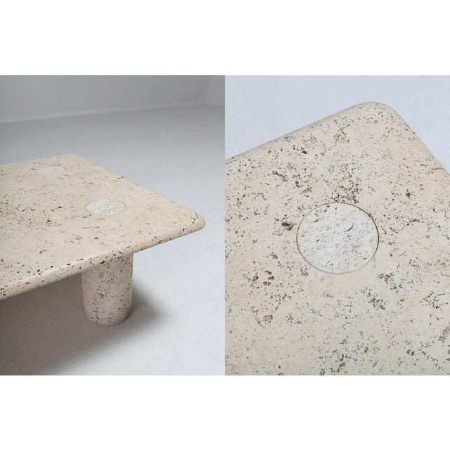 Marble Angelo Mangiarotti Travertine Coffee Table for Up & Up - 1970s For Sale - Image 7 of 11