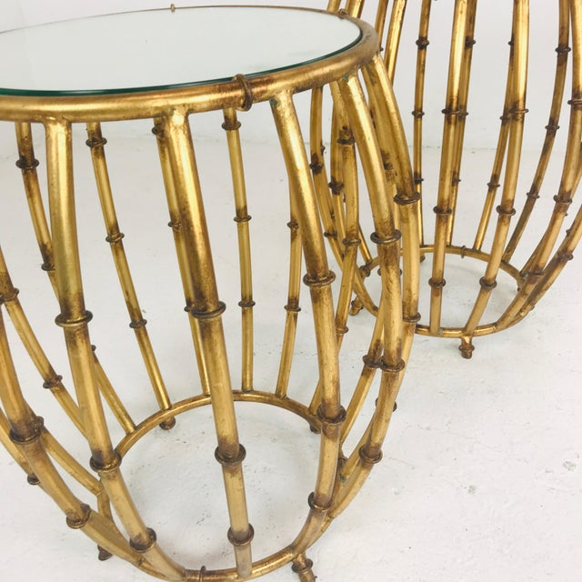 "Pair of gold faux bamboo drum side tables with mirrored top Diameter of table is 18"". Diameter of the tabletop is 15""."