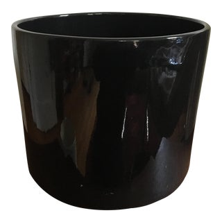 "Gainey Ceramics 10"" Gloss Black Planter Pottery For Sale"