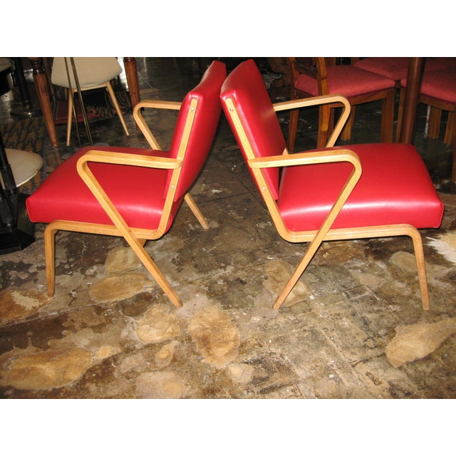 German Red Patent Leather Chairs - Pair - Image 2 of 5