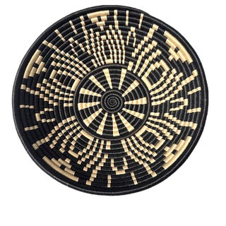 African Rwanda Woven Sweet Grass and Sisal Wall Hanging Basket For Sale