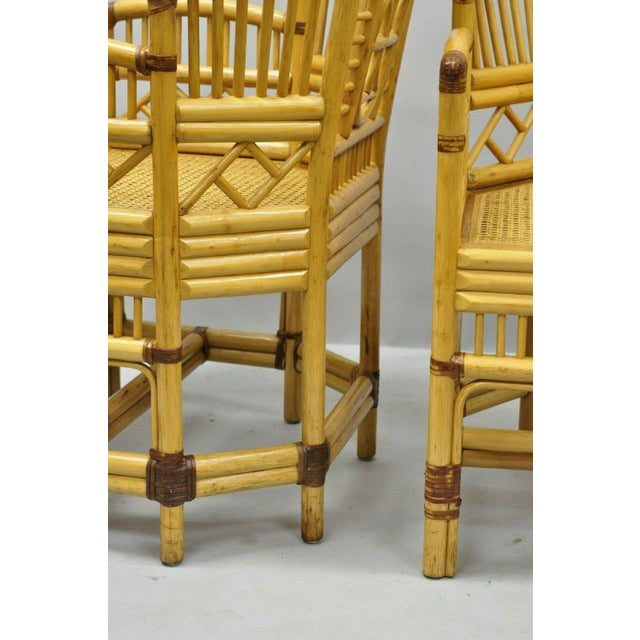 Vintage Brighton Pavilion Style Bamboo & Cane Rattan Arm Chairs- A Pair For Sale In Philadelphia - Image 6 of 11