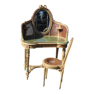 French Painted Floral Carved Cane Mirrored Ladies Vanity & Chair For Sale