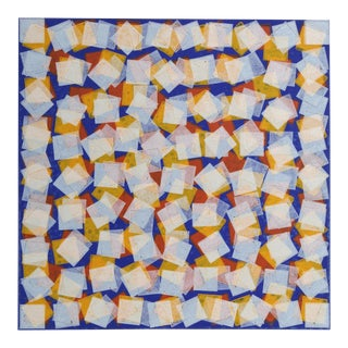 "Eric Newton, ""Red, Yellow, and White Squares on Blue"", Geometric Relief Print For Sale"