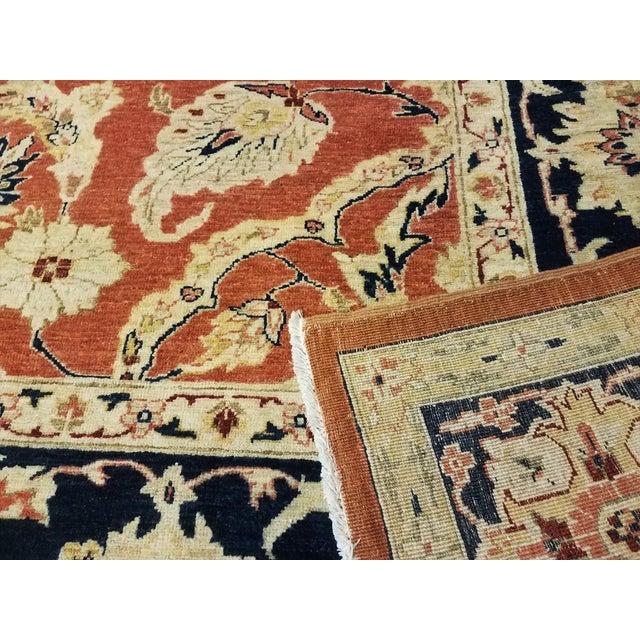 """Kafkaz Peshawar Risa Orange Blue Wool Rug - 9'2"""" x 11'10"""" For Sale - Image 5 of 8"""
