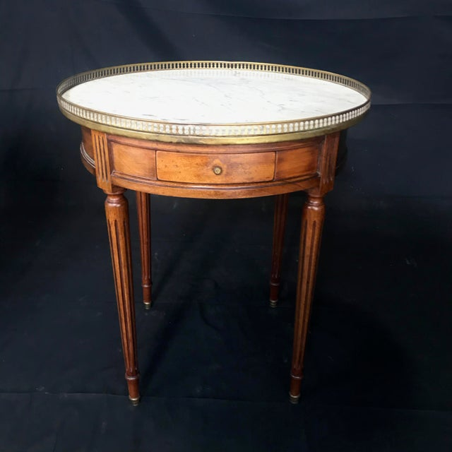 French Louis XVI Style Marble Top and Walnut Bouillotte Side Table For Sale - Image 13 of 13