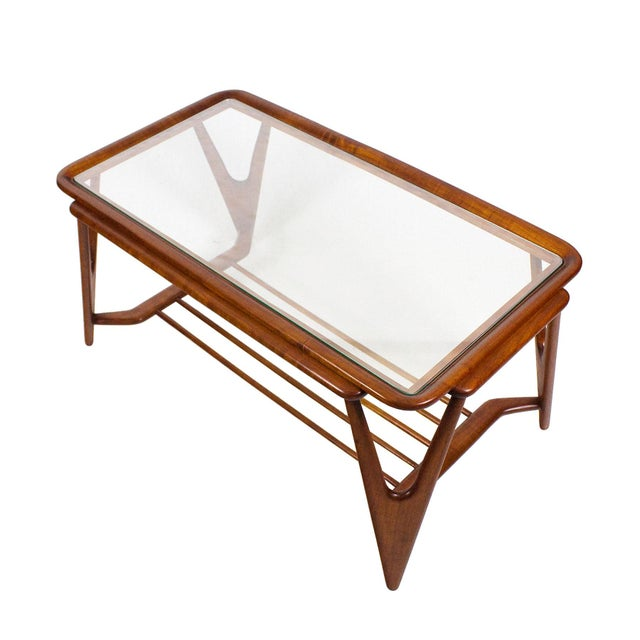1945-50 Large Coffee Table, Cherry Wood and Glasses - Italy For Sale - Image 4 of 7