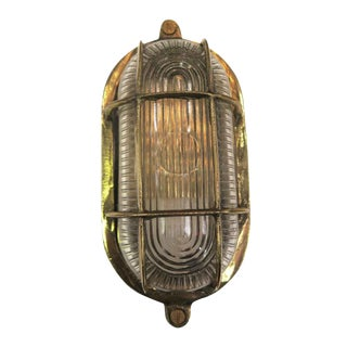 Nautical Oval Caged Flush Mount Ship Light For Sale