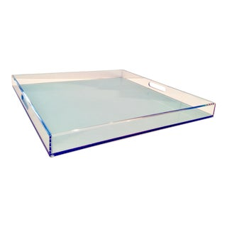 21st Century Modern Custom Lucite Two-Tone Cut Out Handle Tray For Sale