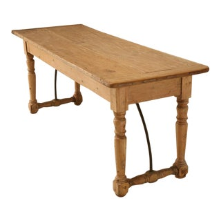 Circa 1820 Original Antique Irish Pine Work Table For Sale