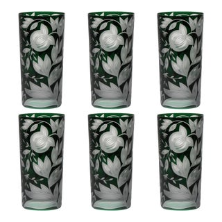 Verdure Highball Glasses, Set of 6, British Racer Green For Sale