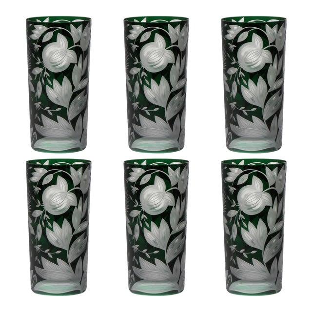 Verdure Highball Glasses, Set of 6, British Racer Green For Sale