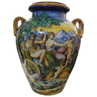 Large Mid 19th Century Italian Glazed Earthenware Urn For Sale