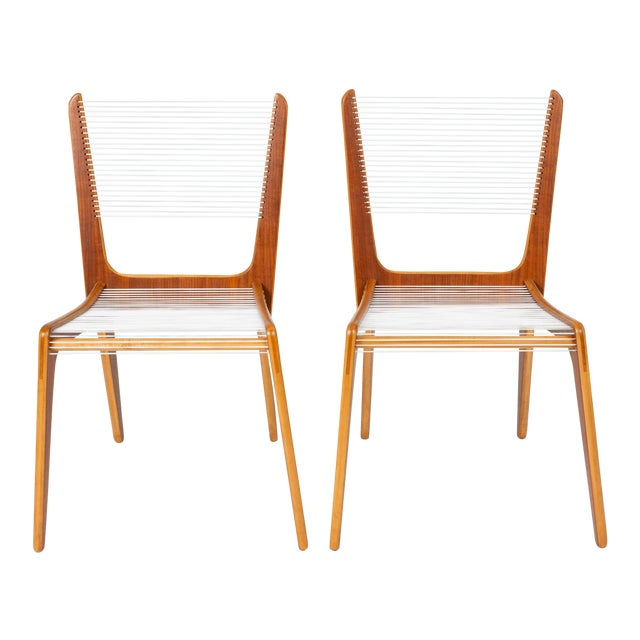 Canadian Modernist Cord Chairs by Jacques Guillon - a Pair For Sale