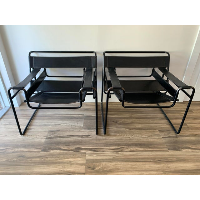 1970s Vintage Wassily Style Chairs With Black Frames - a Pair For Sale - Image 12 of 12