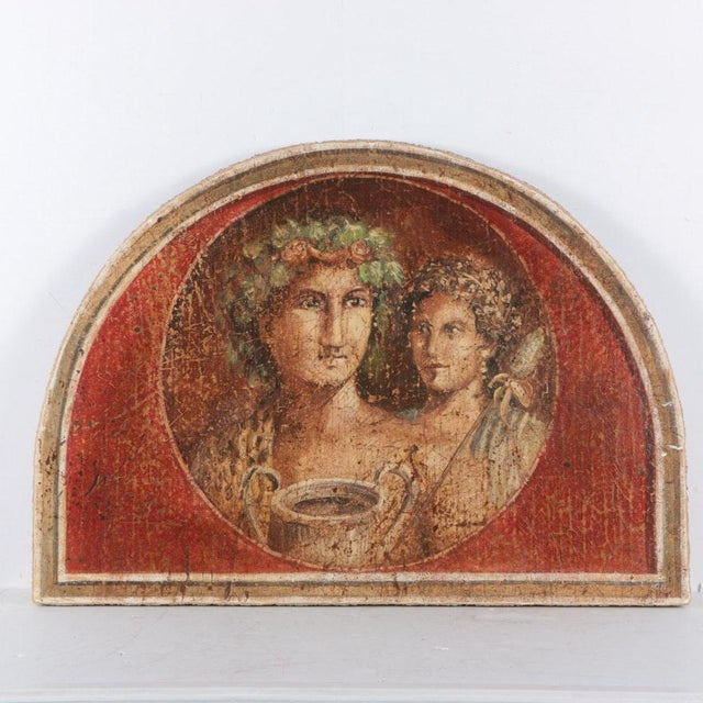 Large Fresco Painting on Wood of Grecian Man & Woman by Jacques Lamy - Image 9 of 9